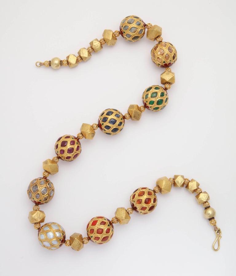 Anglo-Indian Multi Gem Nine Planet Necklace For Sale