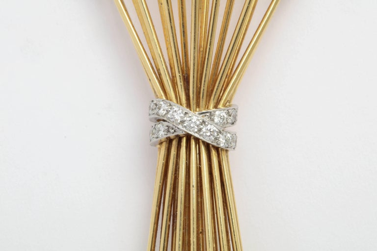Tiffany & Co. Gold and Diamond Sheaf Pin In Excellent Condition For Sale In New York, NY