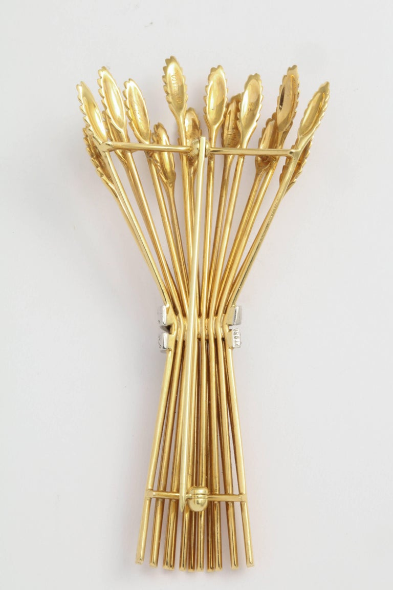 Women's or Men's Tiffany & Co. Gold and Diamond Sheaf Pin For Sale