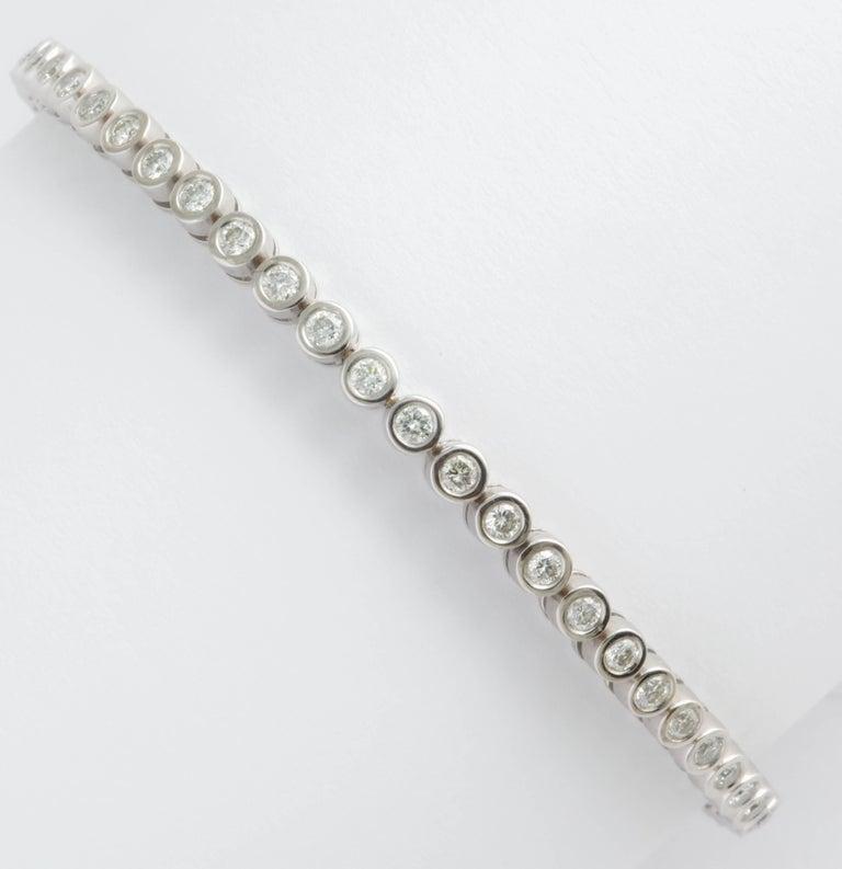 Wempe White Gold and Bezel Set Diamond Tennis Bracelet For Sale 1
