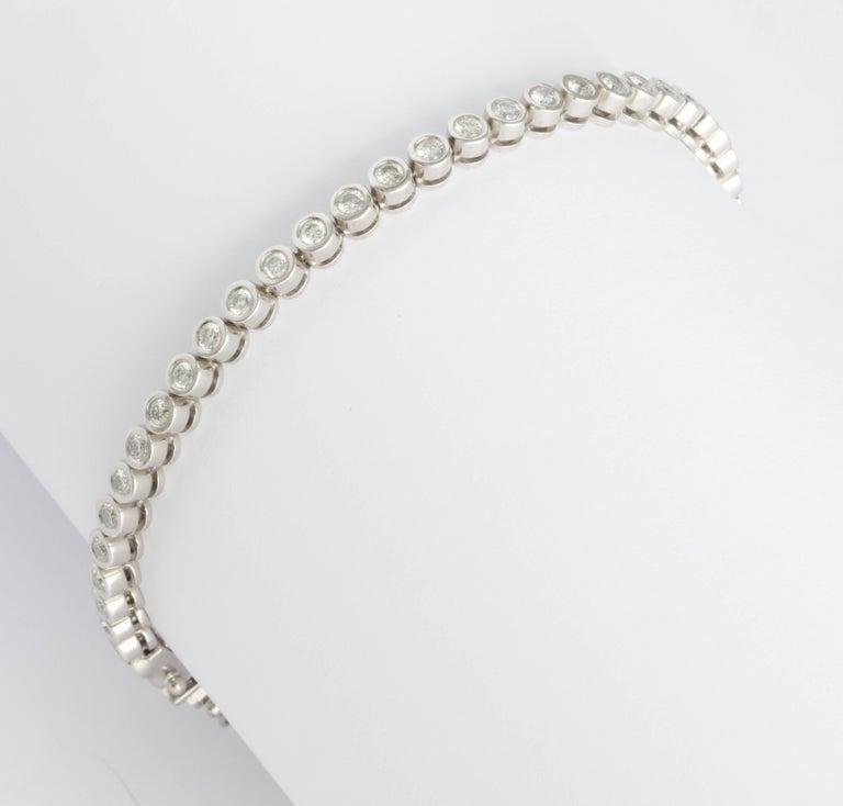 Wempe White Gold and Bezel Set Diamond Tennis Bracelet For Sale 2