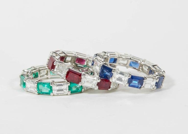 Emerald Sapphire Ruby and Diamond Emerald Cut Eternity Bands In New Condition For Sale In New York, NY