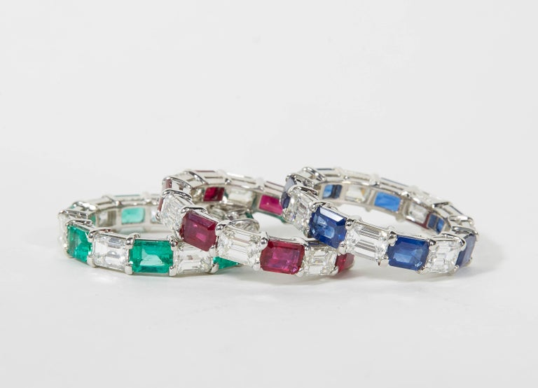 Women's Emerald Sapphire Ruby and Diamond Emerald Cut Eternity Bands For Sale