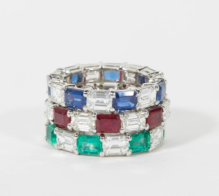 Emerald Sapphire Ruby and Diamond Emerald Cut Eternity Bands For Sale 1