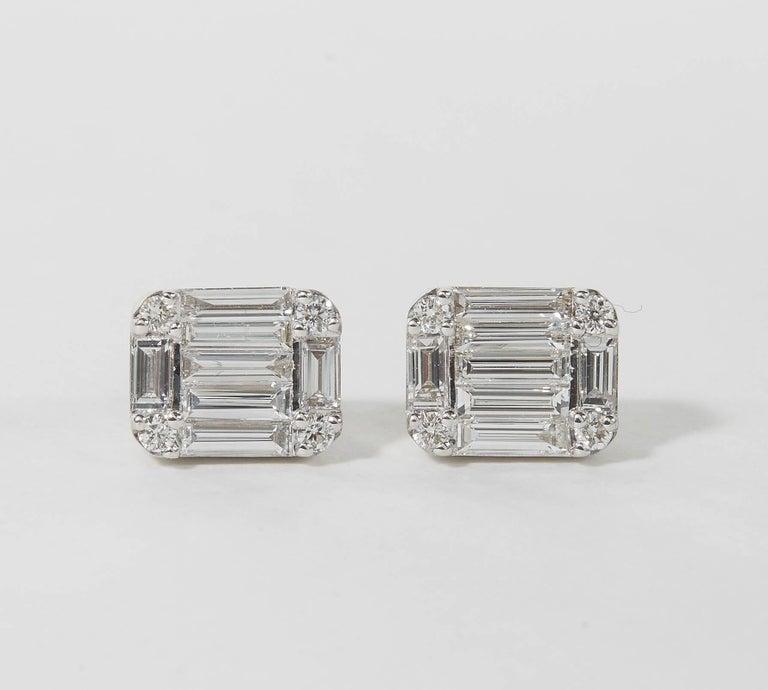 Emerald Cut Diamond Illusion Stud Earrings For Sale 2