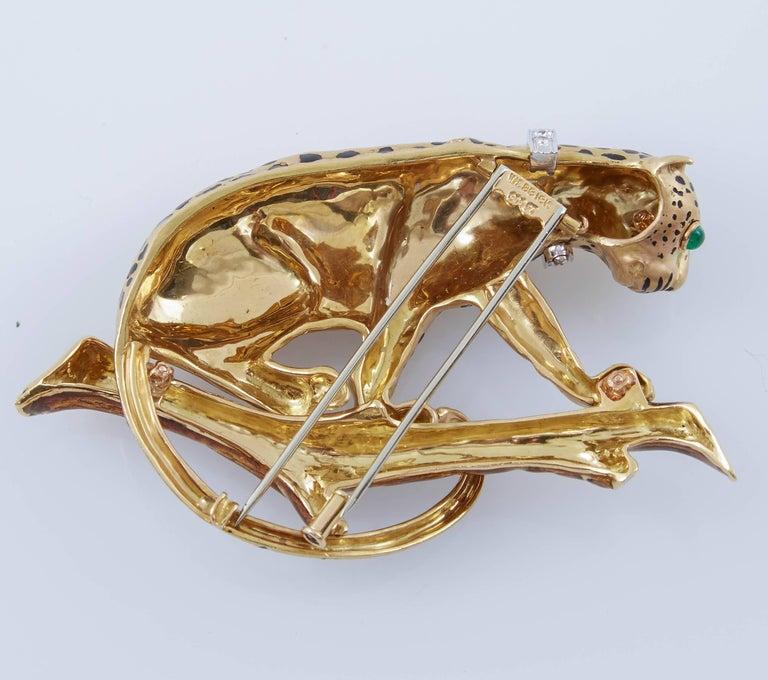 Women's or Men's David Webb Leopard On Branch Enamel Gold Brooch For Sale