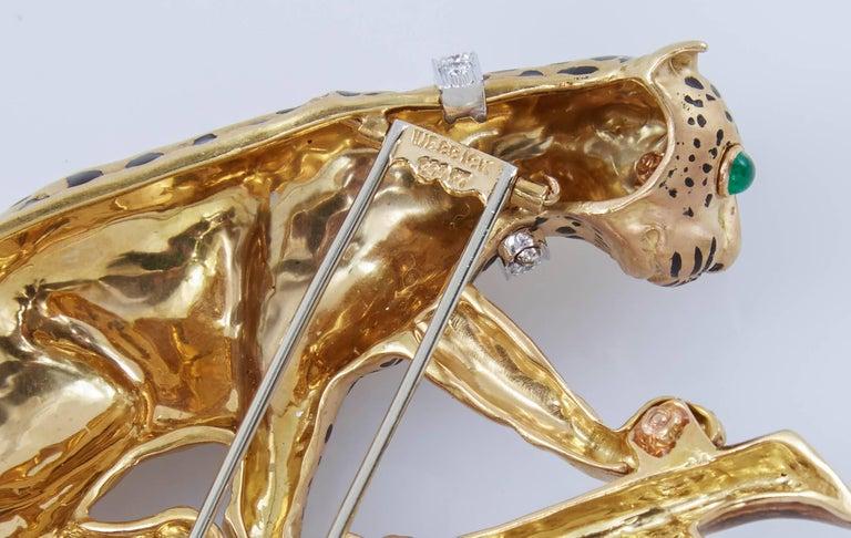 David Webb Leopard On Branch Enamel Gold Brooch For Sale 1
