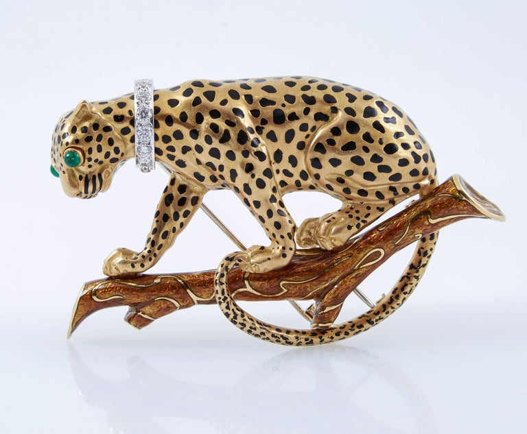 David Webb Leopard On Branch Enamel Gold Brooch For Sale 2