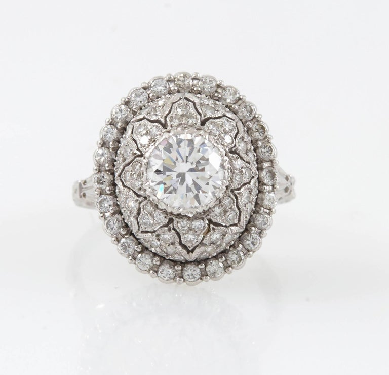 Platinum and Diamond Ring created by Mario Buccellati.  This Buccellati Ring was hand made in Italy.