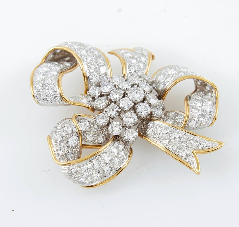David Webb Ribbon Diamond Gold Bow Brooch 4