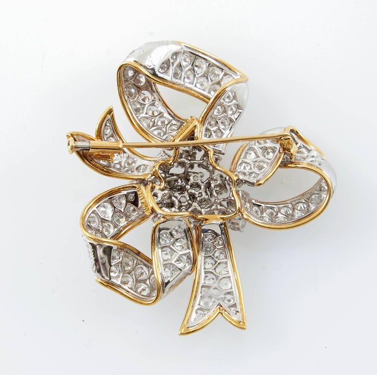 David Webb Ribbon Diamond Gold Bow Brooch 5