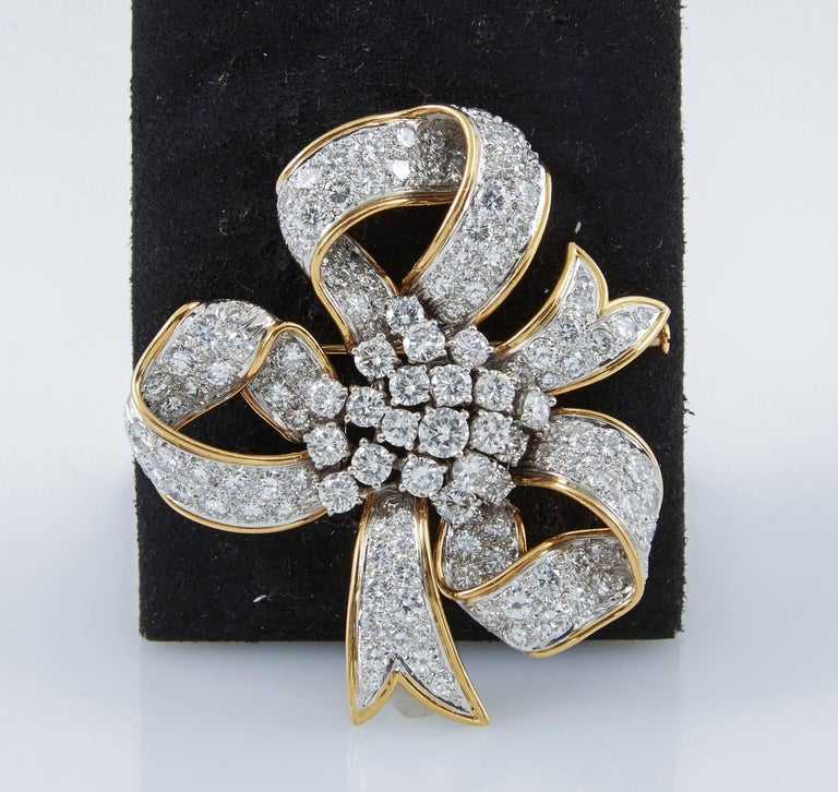 David Webb Ribbon Diamond Gold Bow Brooch 6