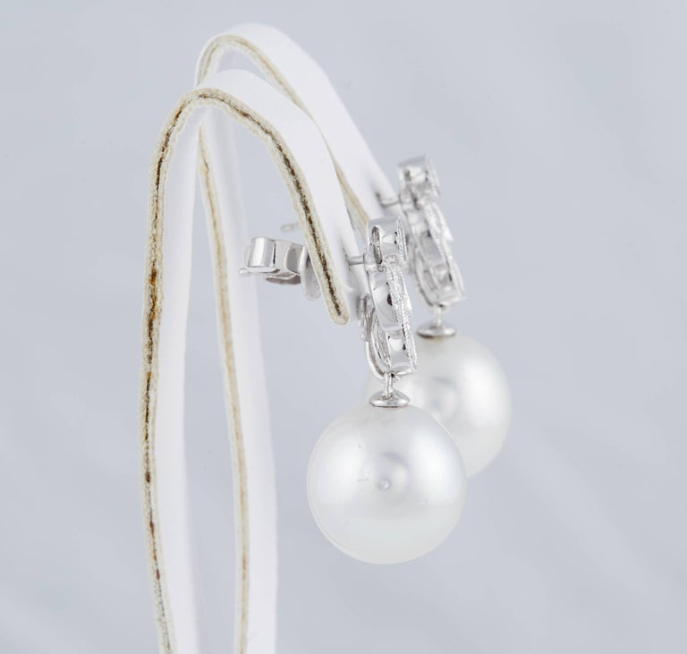 Diamonds and South Sea Pearl Dangling Leaf Earrings 4