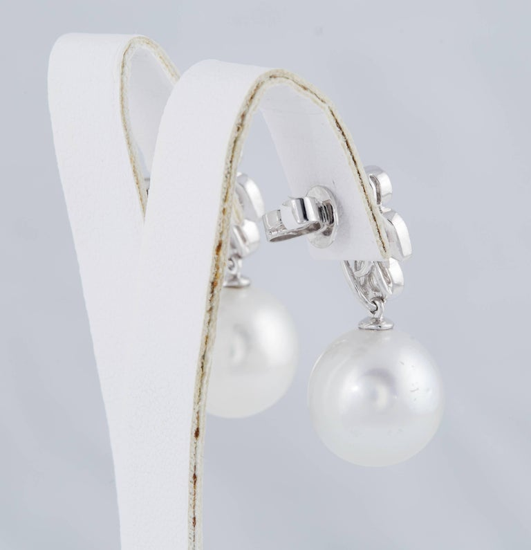 Diamonds and South Sea Pearl Dangling Leaf Earrings 5