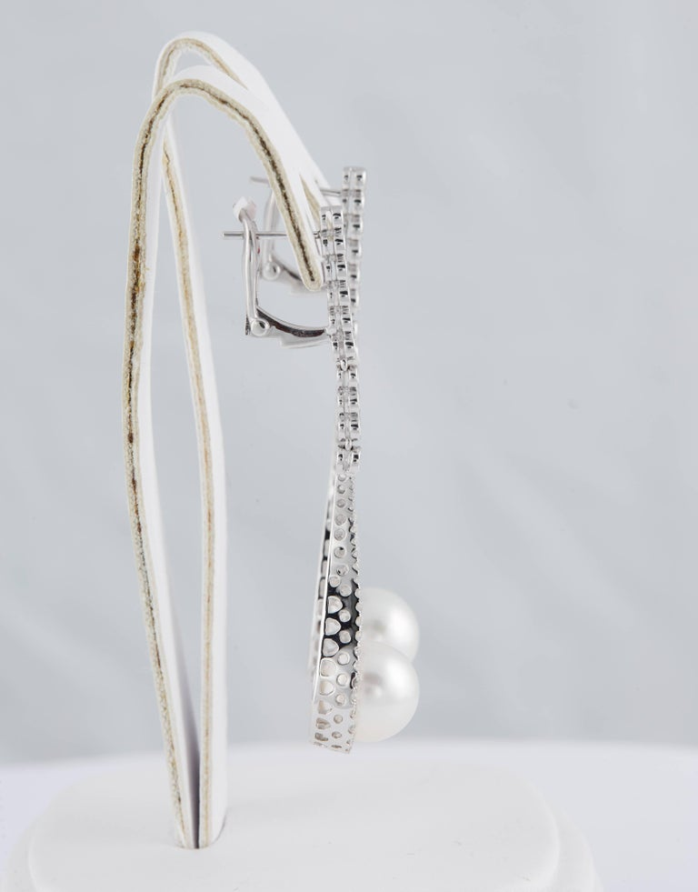 Round Cut South Sea Pearl and Diamond Hanging Drop Dangling Long Earrings For Sale