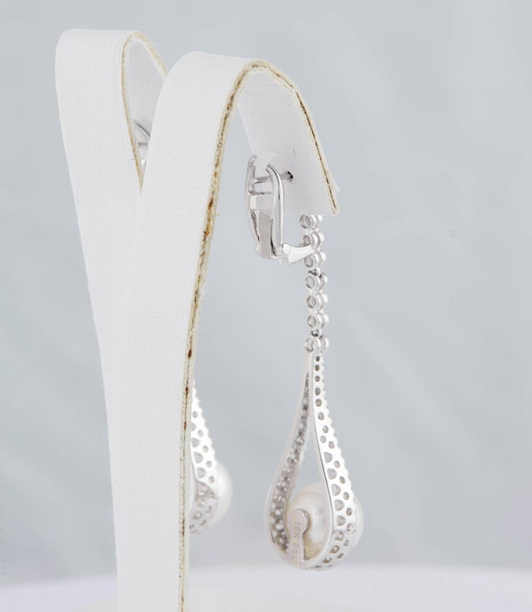 South Sea Pearl and Diamond Hanging Drop Dangling Long Earrings In New Condition For Sale In New York, NY