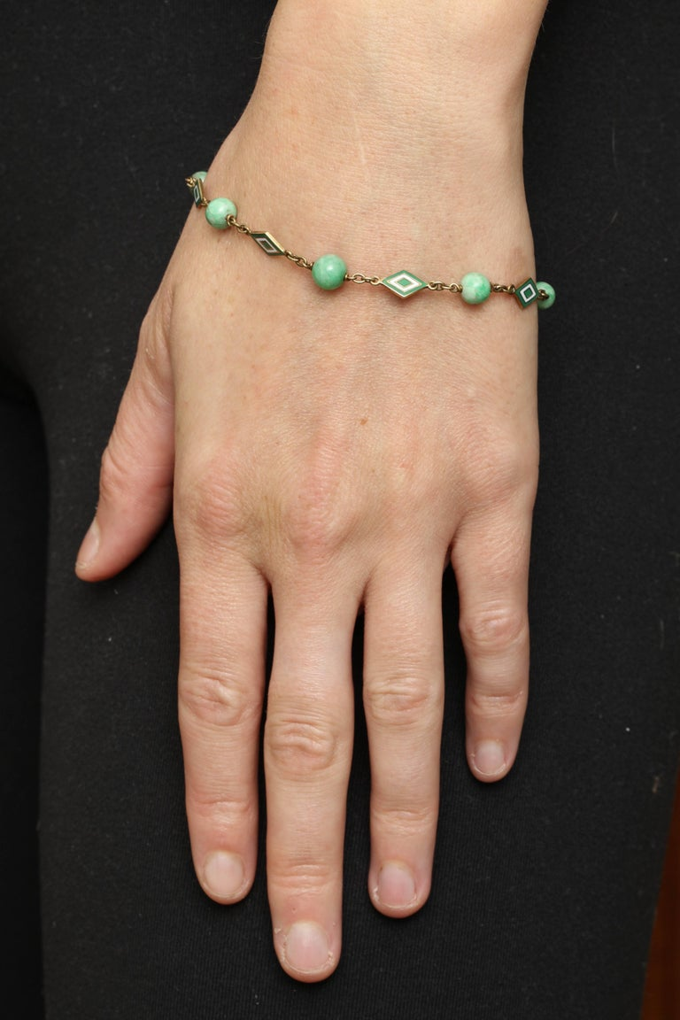 jade and enamel art deco bracelet with diamond monogram charm for sale at 1stdibs