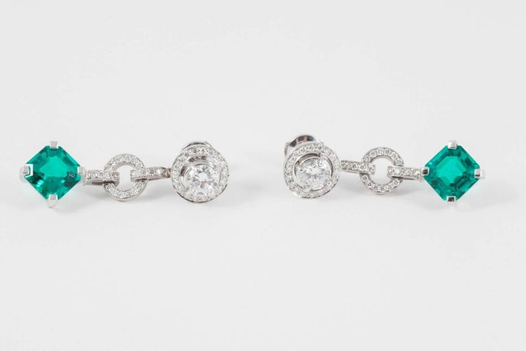 Art Deco Diamond and Don't Waste Beauty Emerald and Diamond Multi Use Earrings For Sale
