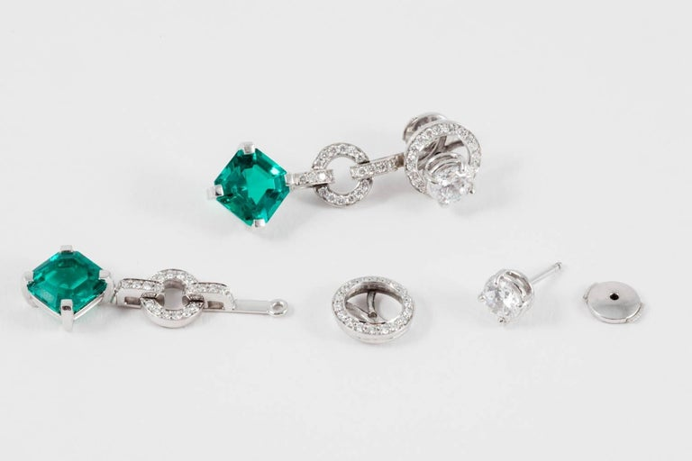 Asscher Cut Diamond and Don't Waste Beauty Emerald and Diamond Multi Use Earrings For Sale