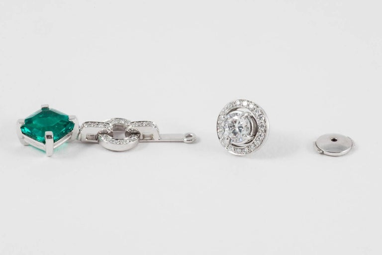 Diamond and Don't Waste Beauty Emerald and Diamond Multi Use Earrings In As new Condition For Sale In London, GB