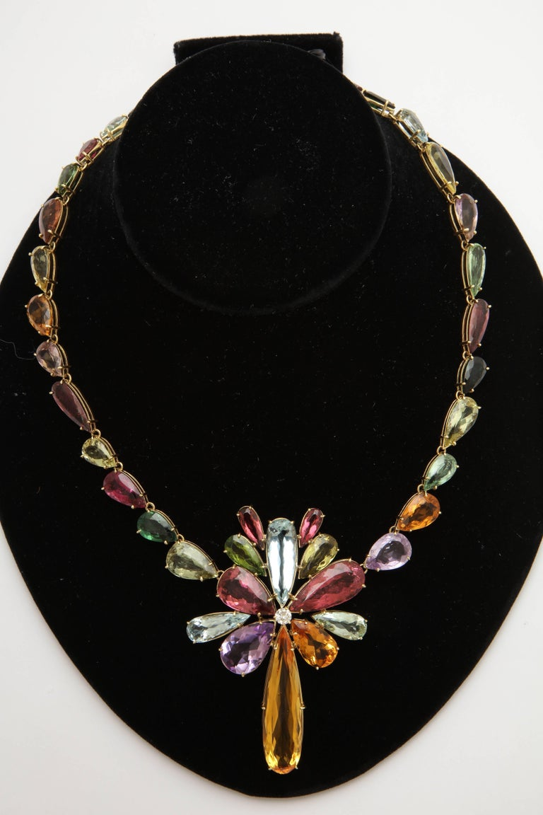1970s  195 Carats of Multi-Colored Stones Diamond Collar Necklace 3