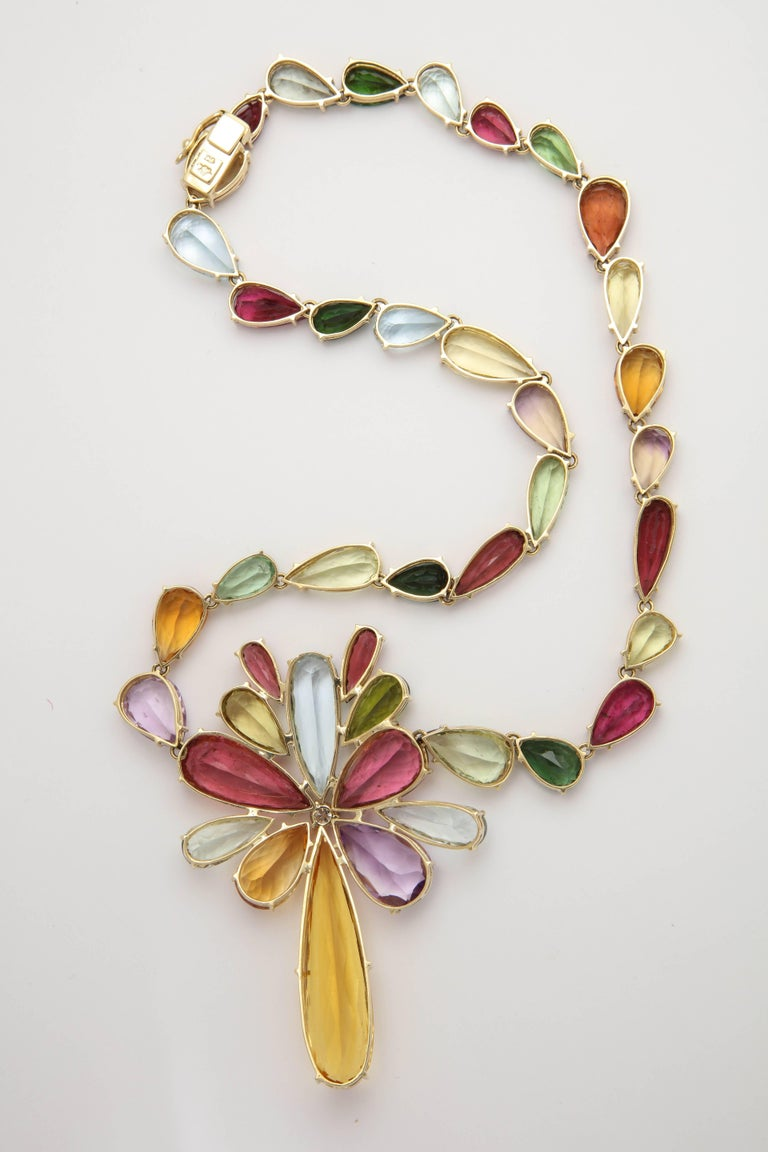 1970s  195 Carats of Multi-Colored Stones Diamond Collar Necklace 5