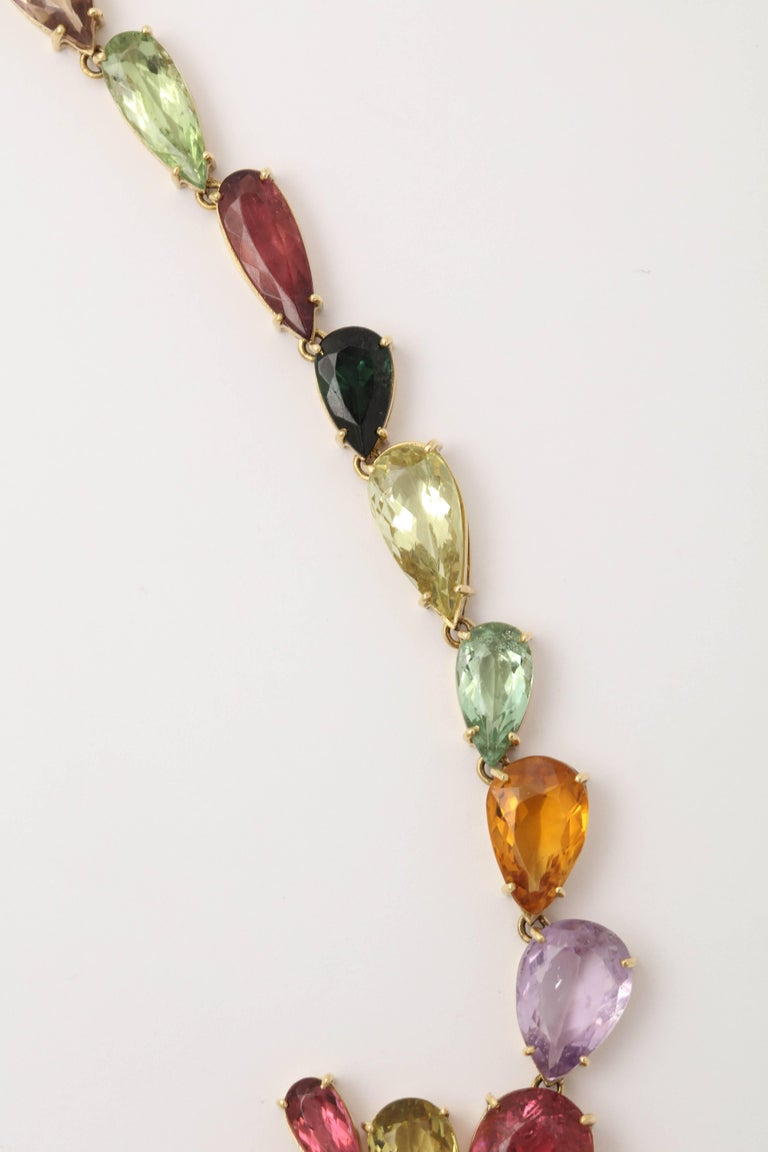 1970s  195 Carats of Multi-Colored Stones Diamond Collar Necklace 8