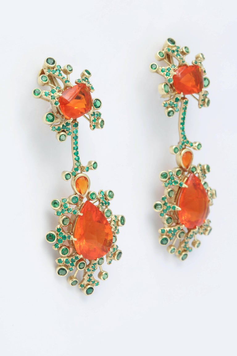 Belle Époque Marilyn Cooperman Fire Opal and Tsavorite Drop Earrings For Sale