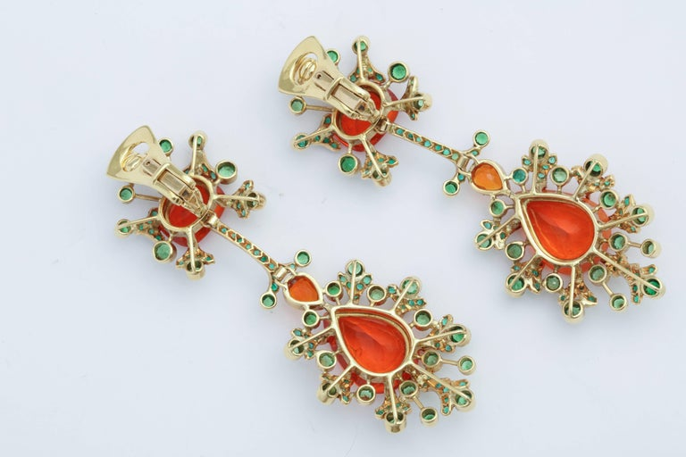 Marilyn Cooperman Fire Opal and Tsavorite Drop Earrings For Sale 1