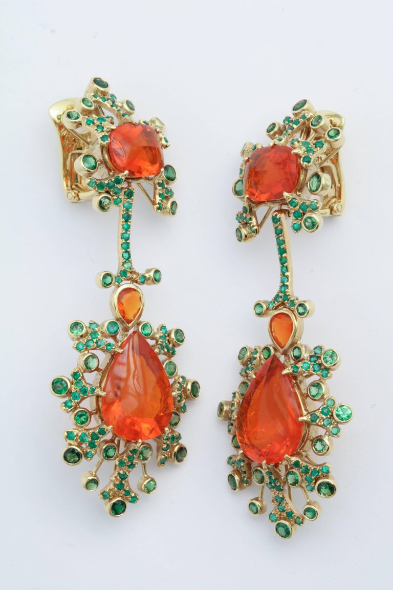 Marilyn Cooperman Fire Opal and Tsavorite Drop Earrings For Sale 3