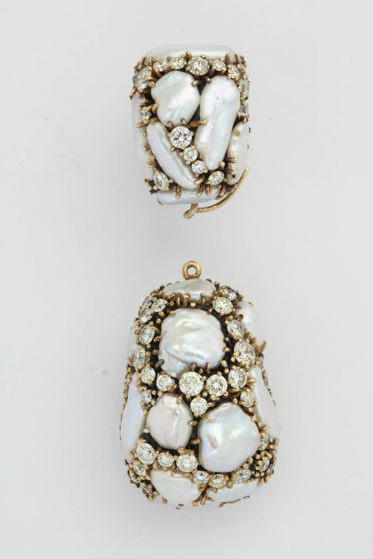 Elegant Day/Night Keshi Earrings - totaling 30.6 Grains and full cut clean white Diamonds totaling 6.70cts giving a snow white  luster.  Can't miss.  Such a great look - and truly unique.