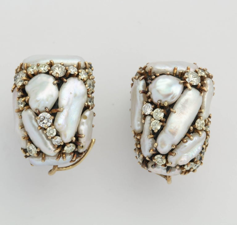 Baroque Marilyn Cooperman Keshi and Diamond Day/Night Drop Earrings For Sale