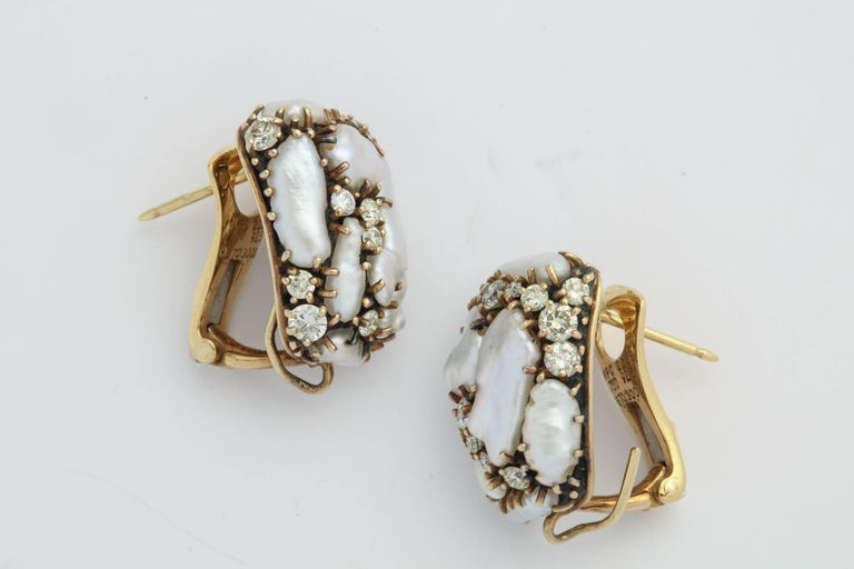 Marilyn Cooperman Keshi and Diamond Day/Night Drop Earrings In Excellent Condition For Sale In New York, NY