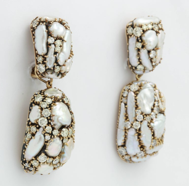 Marilyn Cooperman Keshi and Diamond Day/Night Drop Earrings For Sale 3