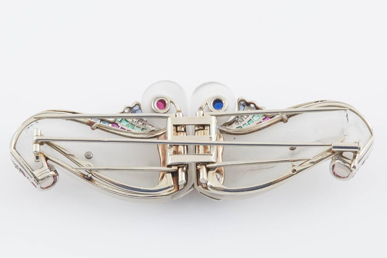 Art Deco Crystal Doubleclip Brooch For Sale 1