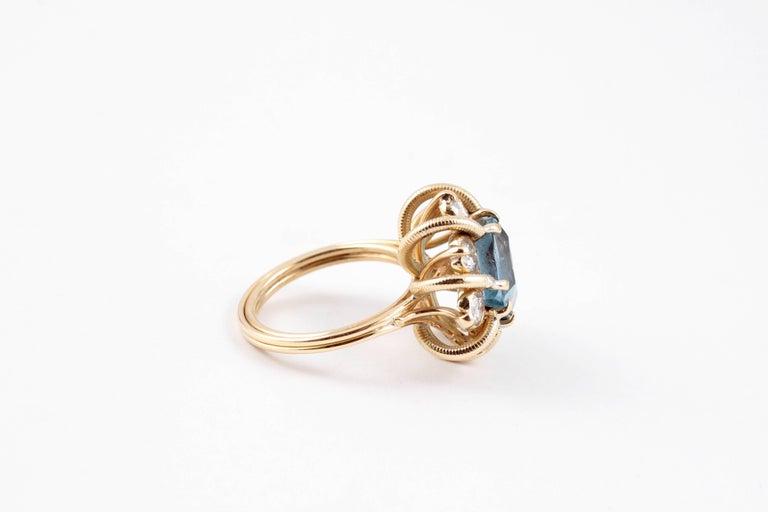 Fabulous 3.00 Carat Aquamarine 1.30 Carat Diamond Ring In Excellent Condition For Sale In Dallas, TX