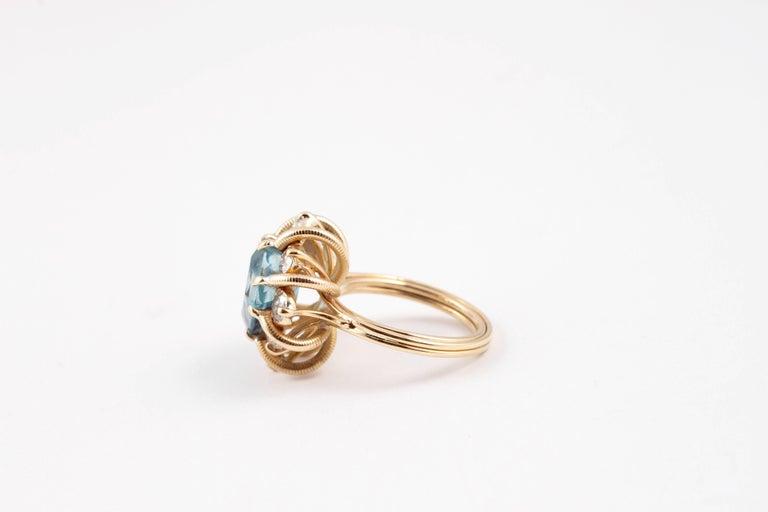 Fabulous 3.00 Carat Aquamarine 1.30 Carat Diamond Ring For Sale 1