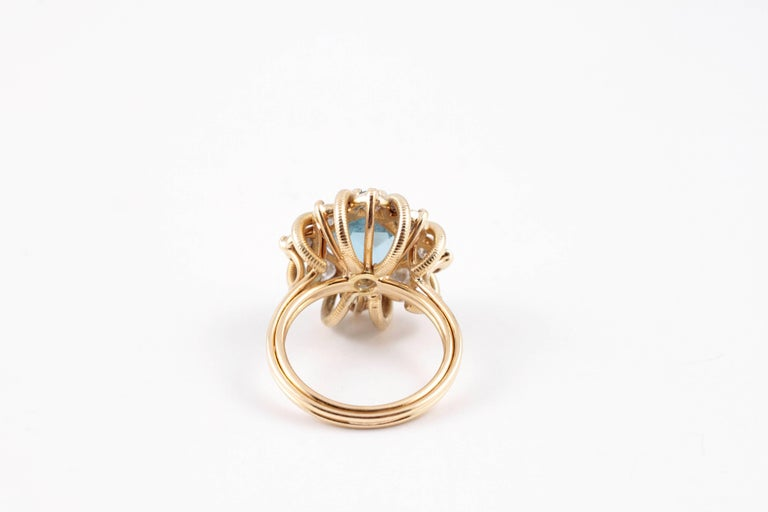 Fabulous 3.00 Carat Aquamarine 1.30 Carat Diamond Ring For Sale 2