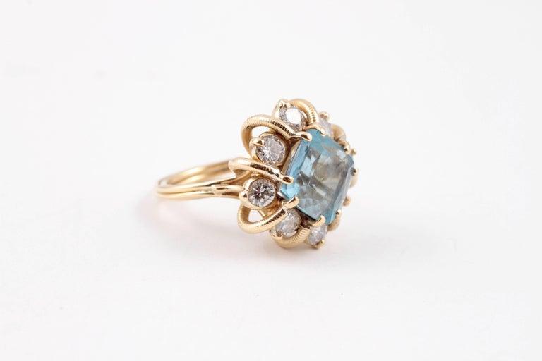 Fabulous 3.00 Carat Aquamarine 1.30 Carat Diamond Ring For Sale 4