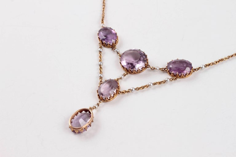 Edwardian Amethyst Seed Pearl Necklace In Excellent Condition For Sale In Dallas, TX