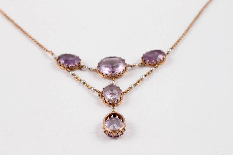 Women's or Men's Edwardian Amethyst Seed Pearl Necklace For Sale