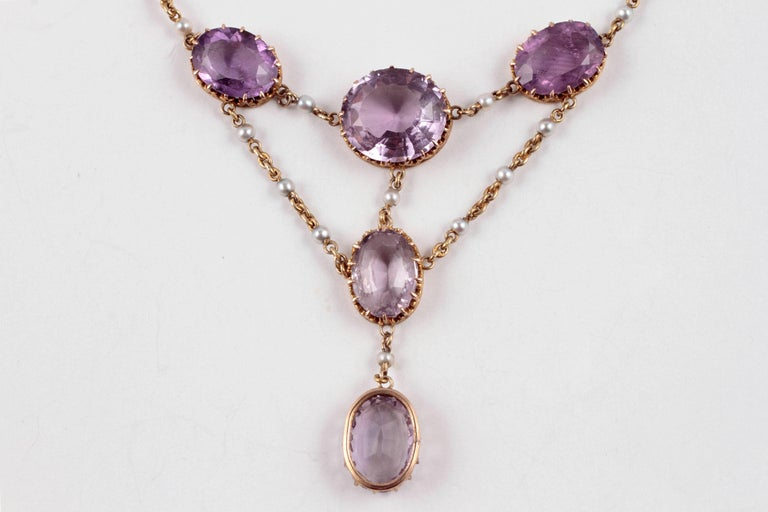 Edwardian Amethyst Seed Pearl Necklace For Sale 2