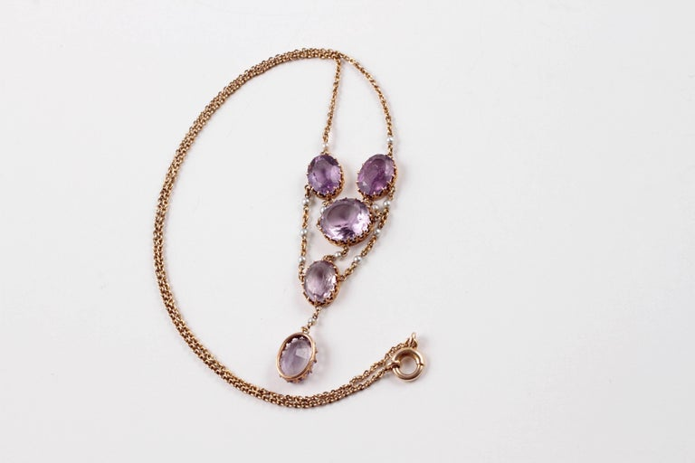 Edwardian Amethyst Seed Pearl Necklace For Sale 3