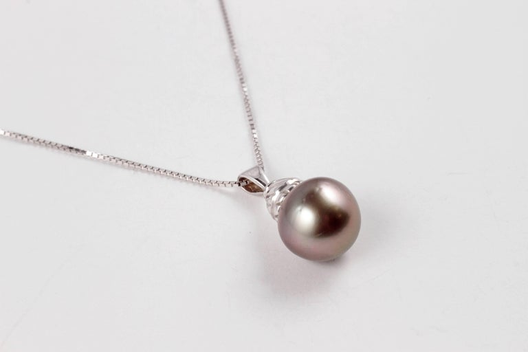 Natural Color Tahitian Cultured Pearl White Gold Necklace For Sale 2