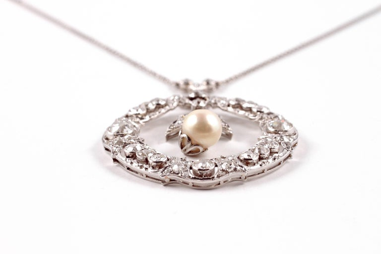 Women's Edwardian 3.20 Carat Diamond Pearl Necklace For Sale