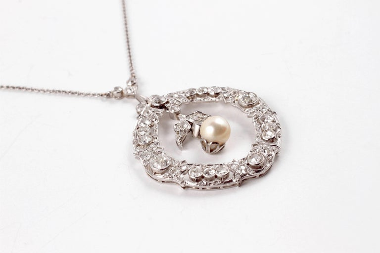 Edwardian 3.20 Carat Diamond Pearl Necklace For Sale 1