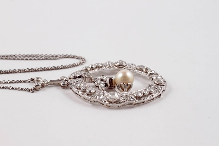 Edwardian 3.20 Carat Diamond Pearl Necklace For Sale 3