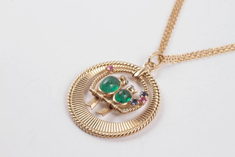 Van Cleef & Arpels Emerald Sapphire Ruby Pendant with Associated Chain In Excellent Condition For Sale In Dallas, TX