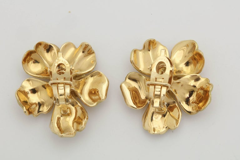 Women's 1980s Tiffany & Co. Large Figural Cherry Blossom Flower Matte Gold Earrings For Sale