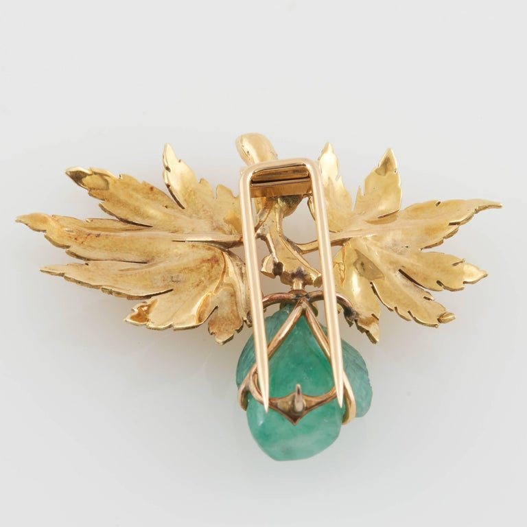 Women's Buccellati Gold and Carved Emerald Brooch For Sale